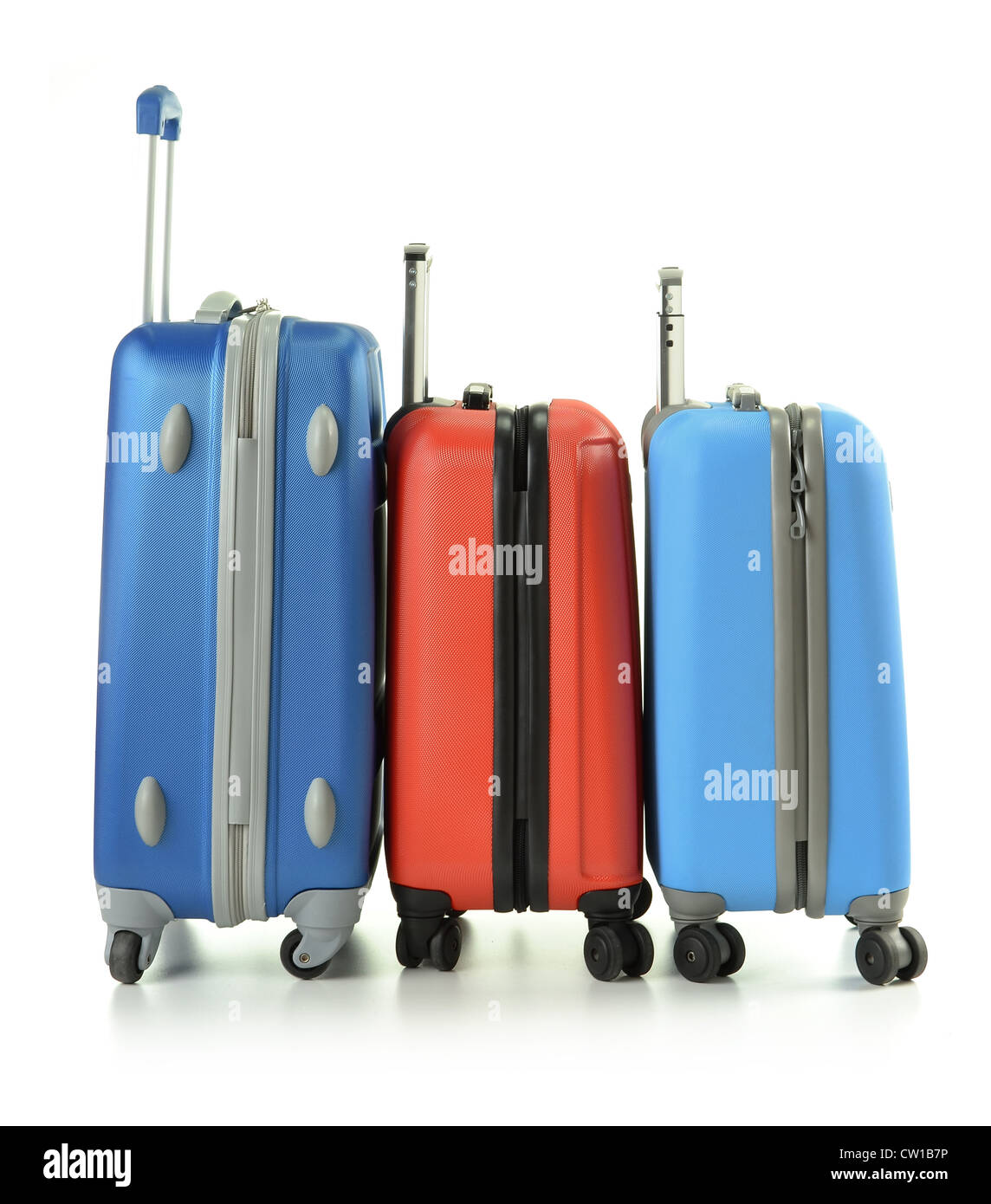 Luggage consisting of suitcases isolated on white - Stock Image