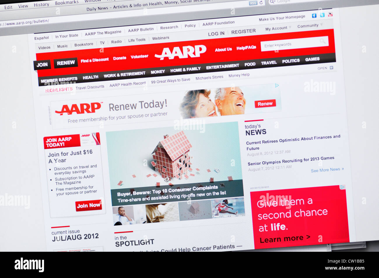AARP website - American Association of Retired Persons, US non-governmental organization and interest group - Stock Image