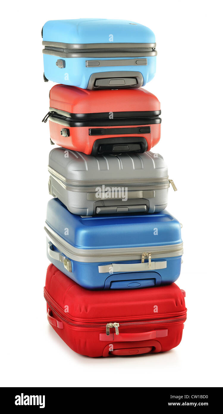 Luggage consisting of polycarbonate suitcases isolated on white - Stock Image