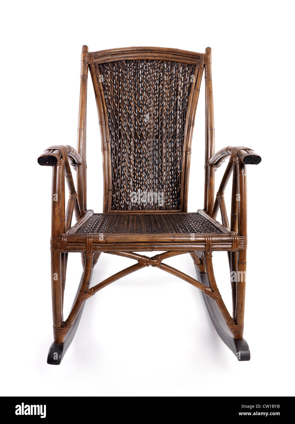 Antique bamboo wicker rocking chair isolated on white background - Stock Image