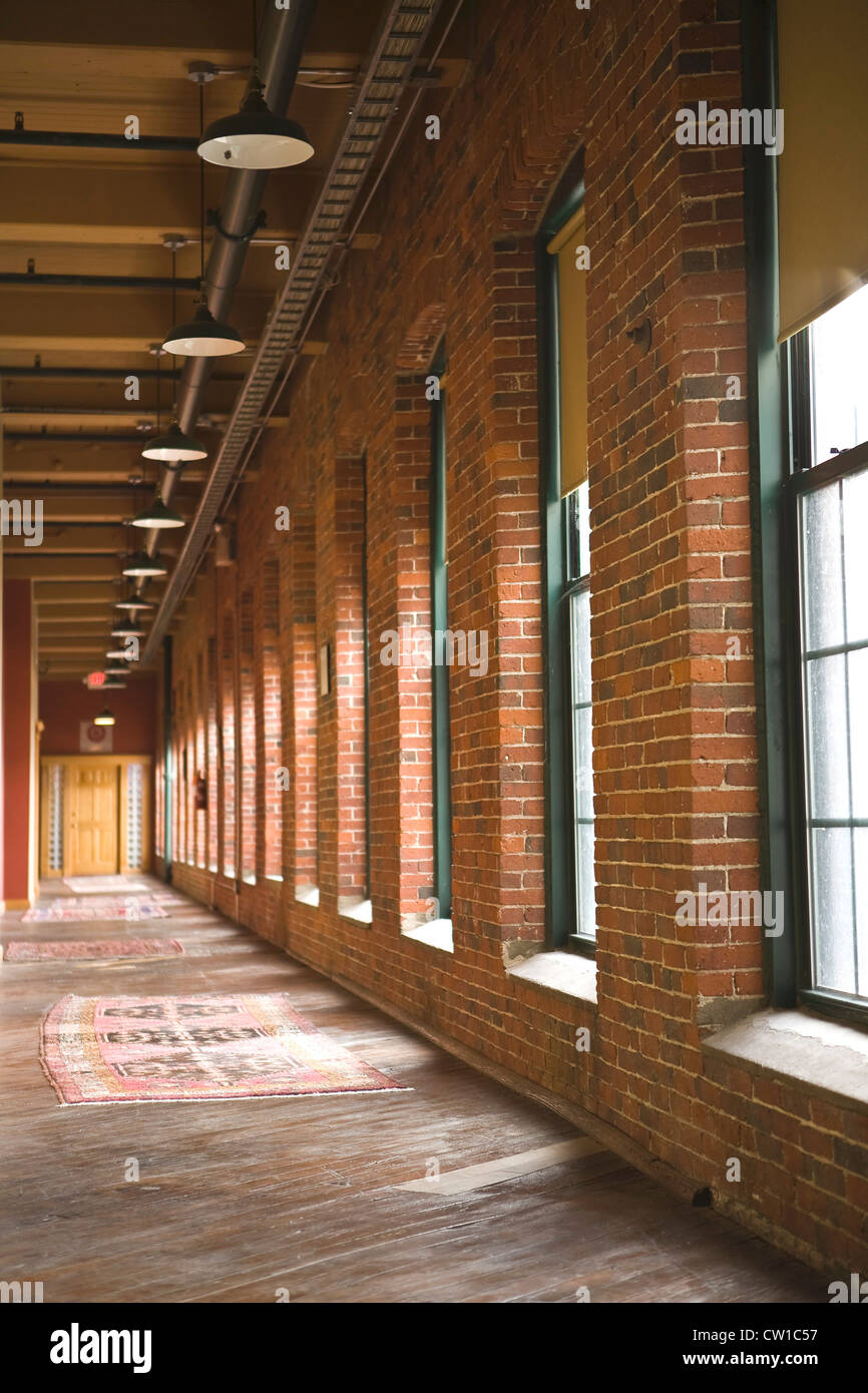 Corridor in Old Industrial Building Lowell, Massachusetts - Stock Image