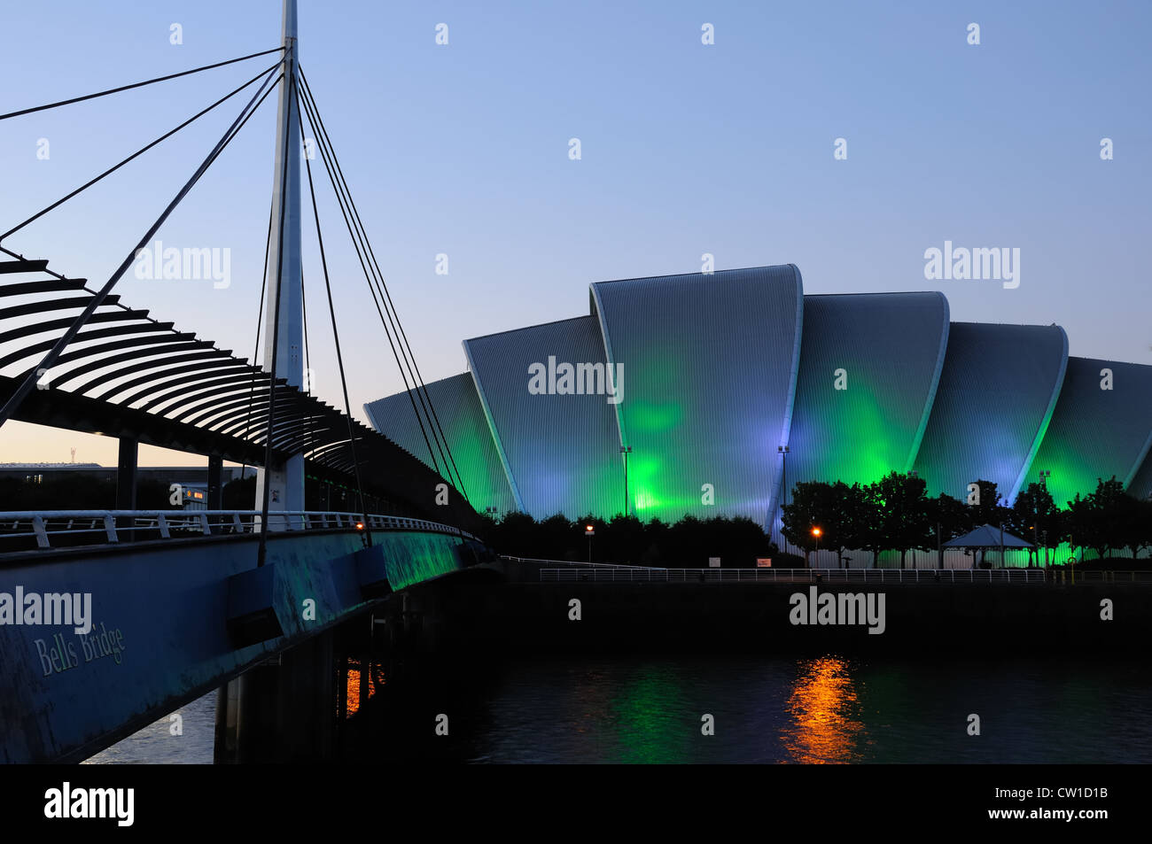 The Bell's bridge and the Clyde Auditorium affectionately known by Glaswegians as the Armadillo, Finnieston, - Stock Image