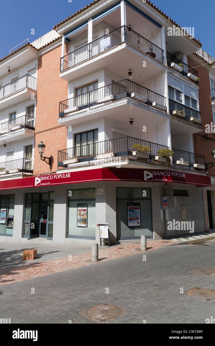 The Banco Popular in Nerja Spain - Stock Image