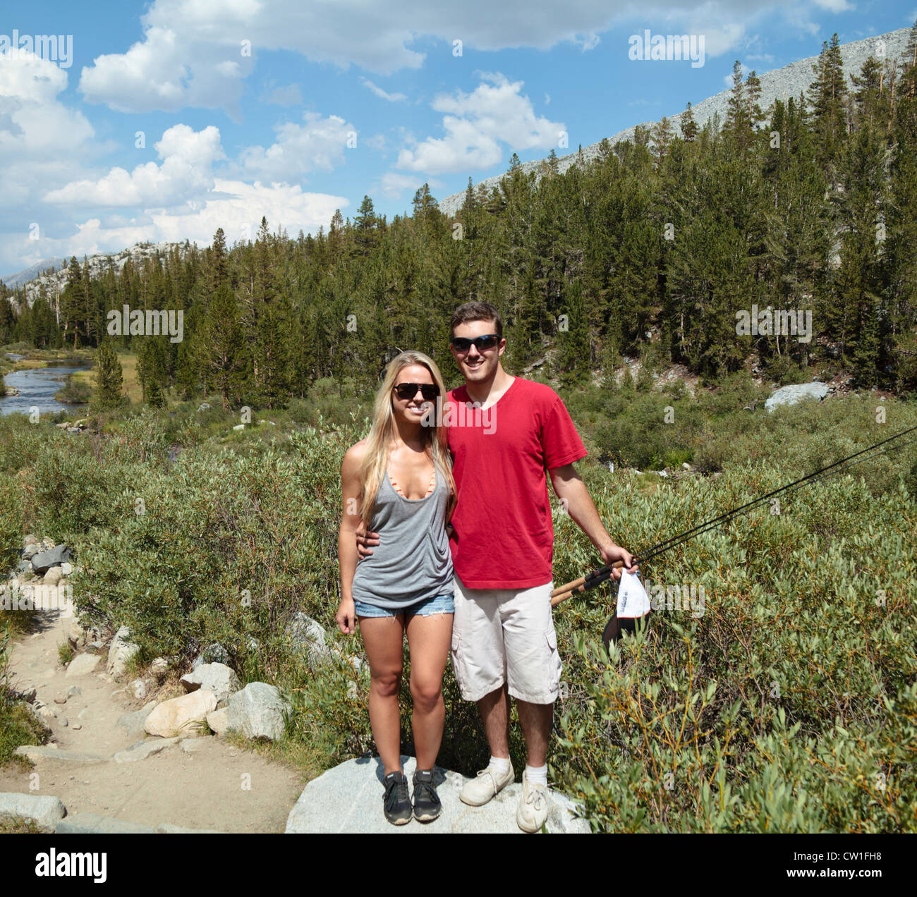 couple on the trail to rock creek canyon not far from mammoth lakes