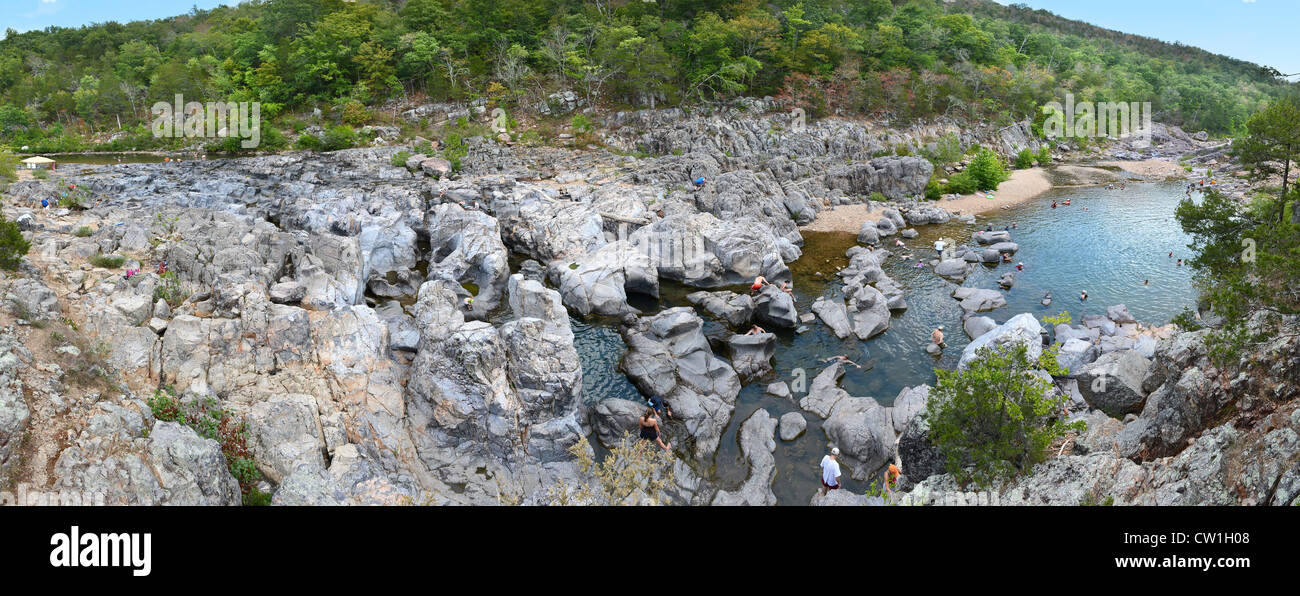 Panoramic view of Johnson Shut Ins in Missouri - Stitched from several images - Stock Image