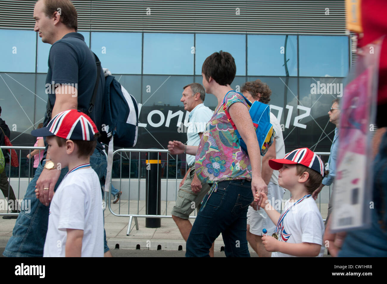 Westfield Shopping Centre, Stratford, entrance to the Olympic Park.  Visitors walk to the arena. - Stock Image