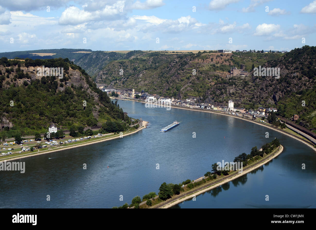 View from the Loreley rock at the river Rhine in Germany Stock Photo