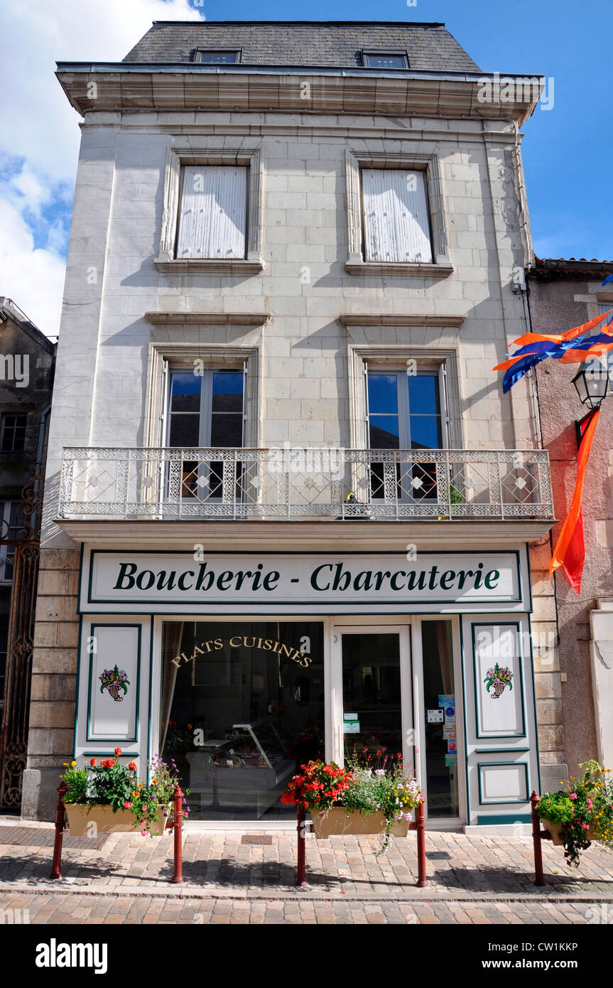 A traditional boucherie and charcuterie shop, in the small town of Airvault, Deux-Sèvres Department, Nouvelle - Stock Image