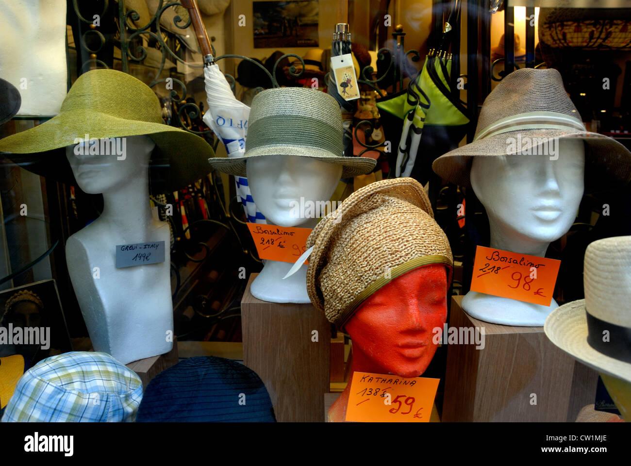 Brussels, Belgium. Brussels, Belgium. Shop window in the Galeries St Hubert. Hats - Stock Image