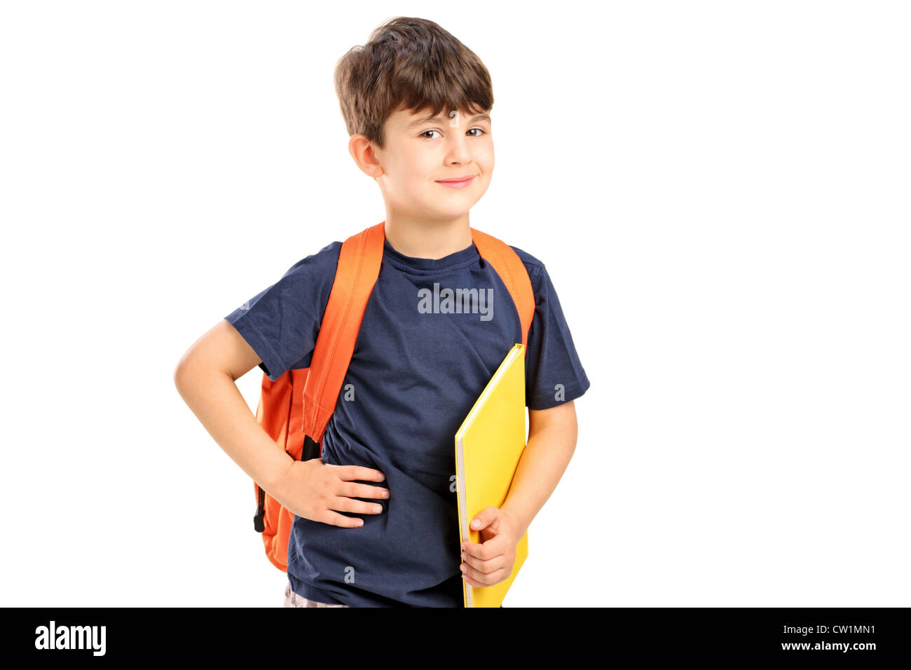 8ae05d373742 A school boy with backpack holding a notebook isolated against white  background - Stock Image