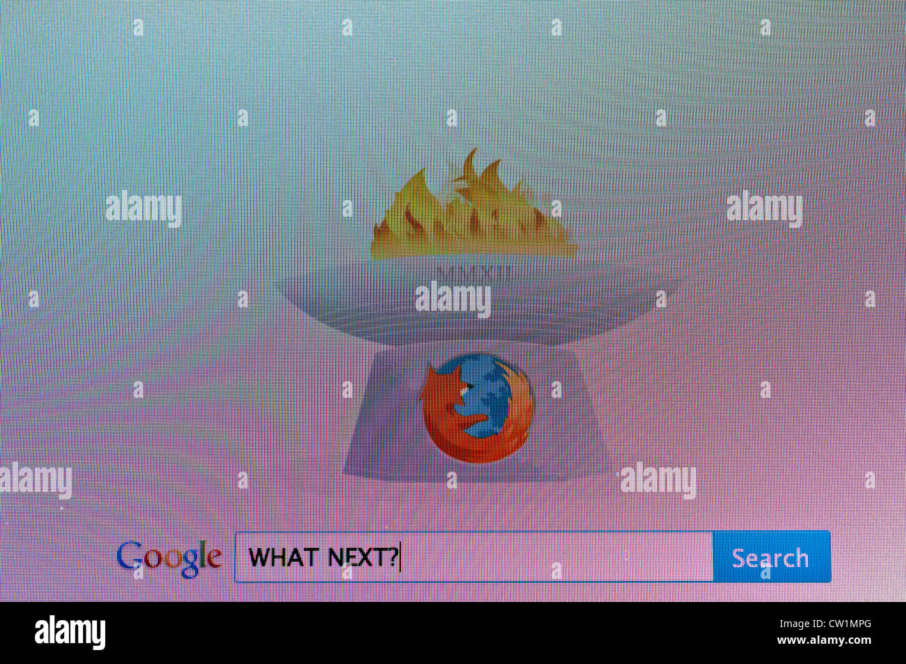 Computer screen with google search for 'What next'? - Stock Image