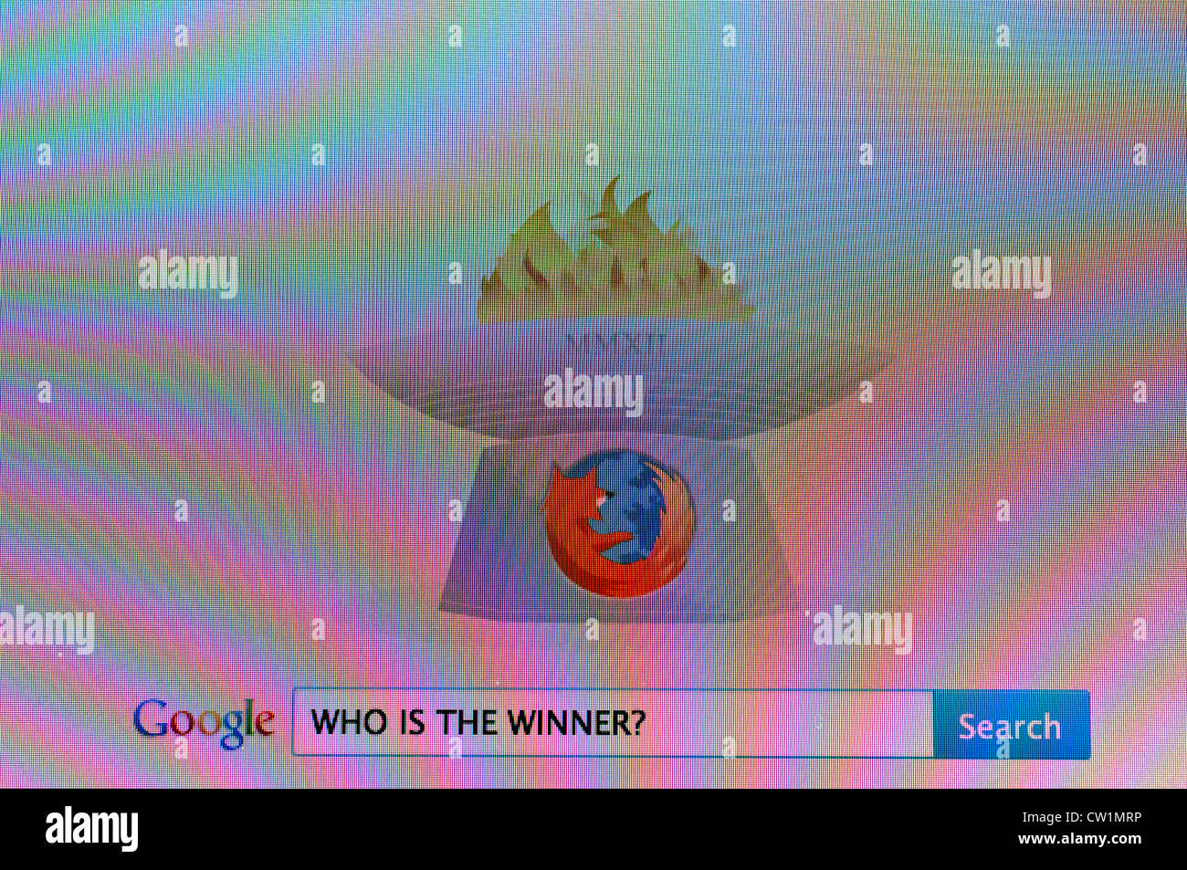 Computer screen with Google search 'Who is the Winner?' - Stock Image