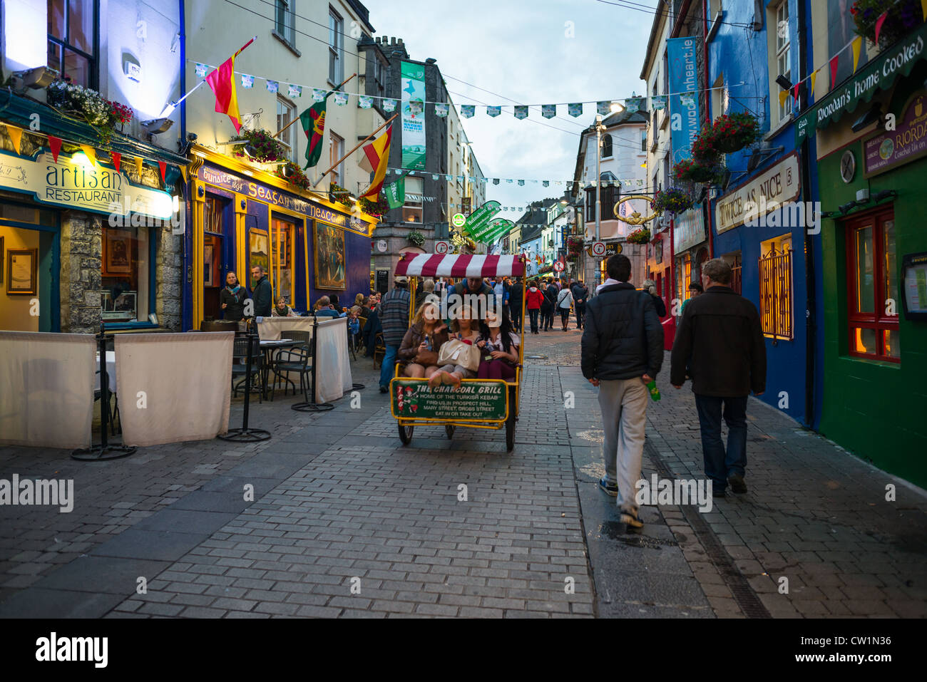 Latin quarter shops at dusk in Galway City centre. County Galway, Ireland. - Stock Image