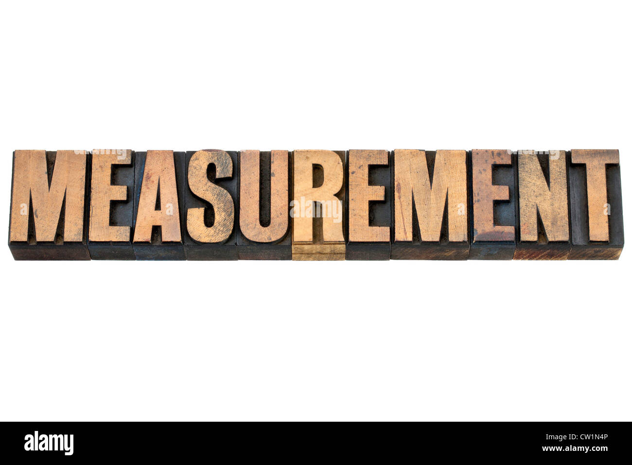 measurement - isolated word in vintage letterpress wood type - Stock Image
