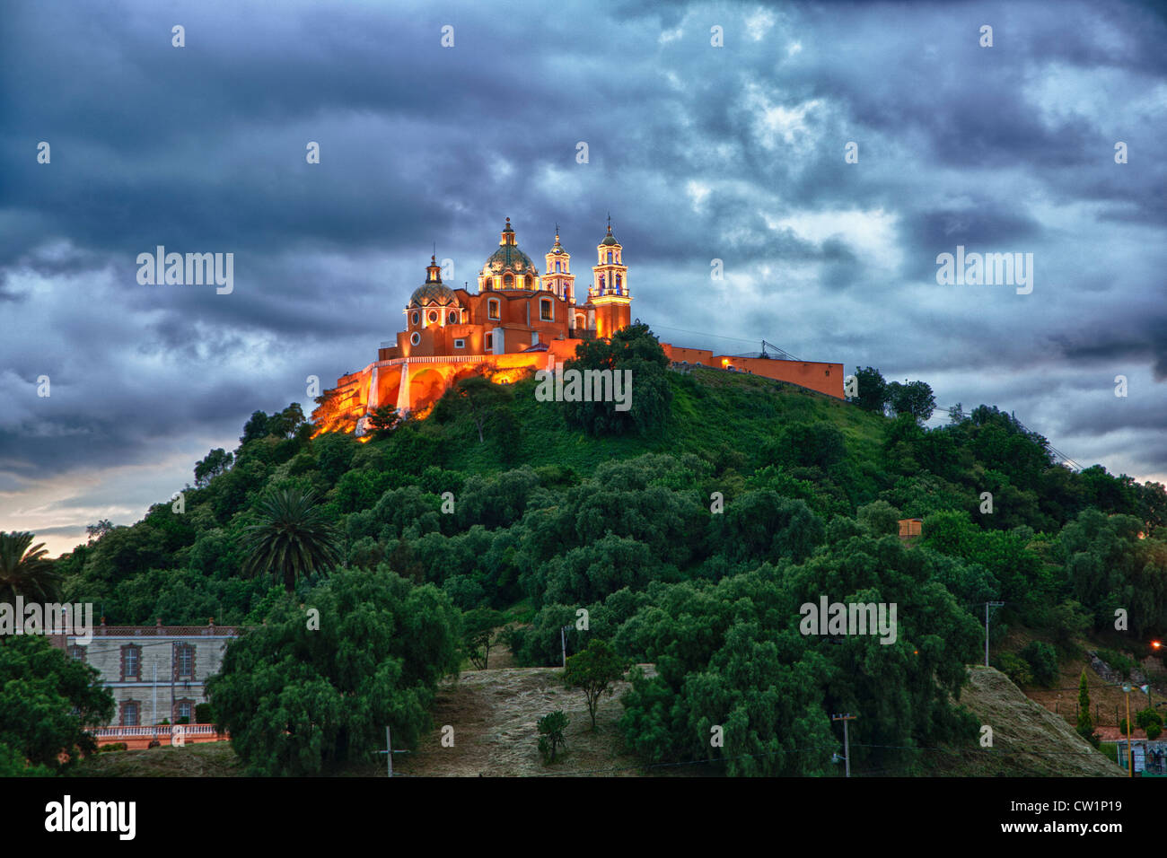 Church of Neustra Senor de los Remedios or Our Lady of Remedios in Cholula, Mexico - Stock Image