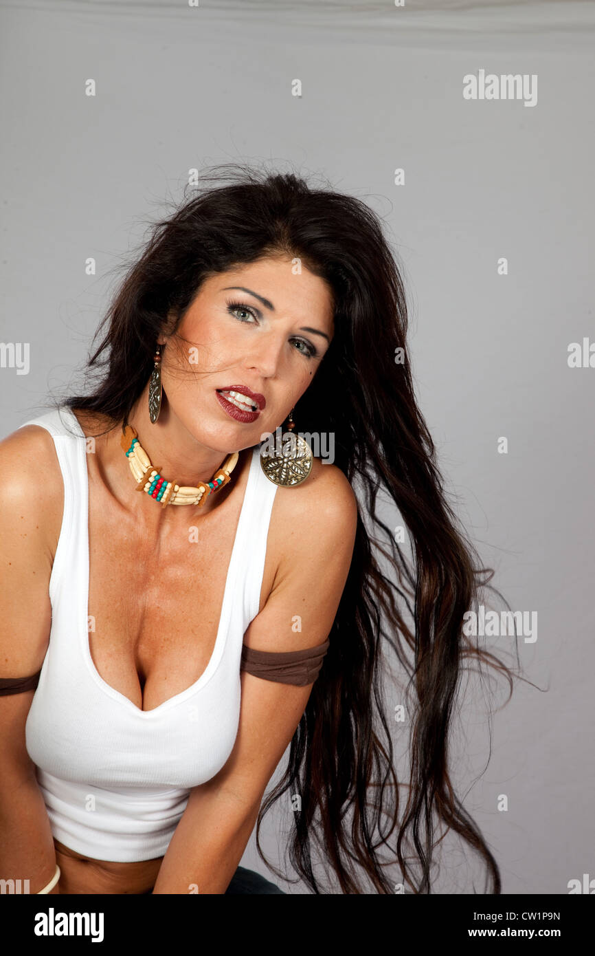 pretty mature woman with long black hair and american indian choker