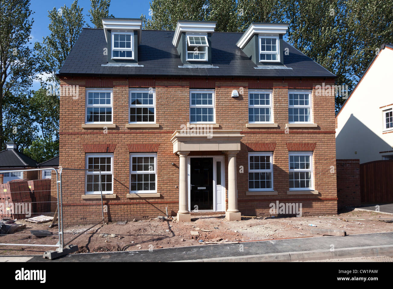 Newly built house on new estate, Abergavenny, Wales, UK - Stock Image