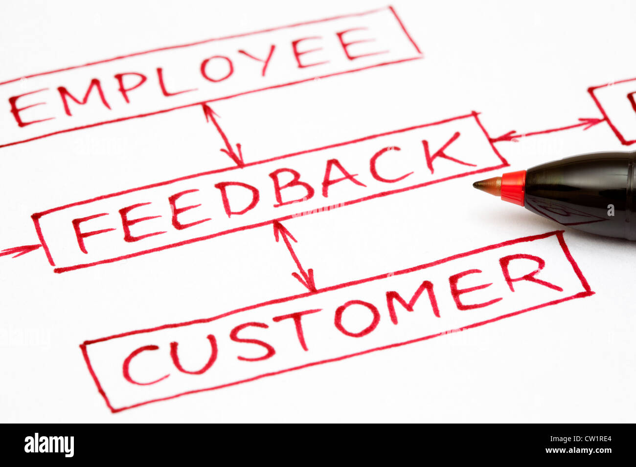 Feedback flow chart written with red pen on paper. - Stock Image