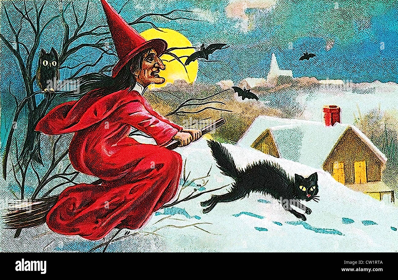 Witch on broom - Stock Image