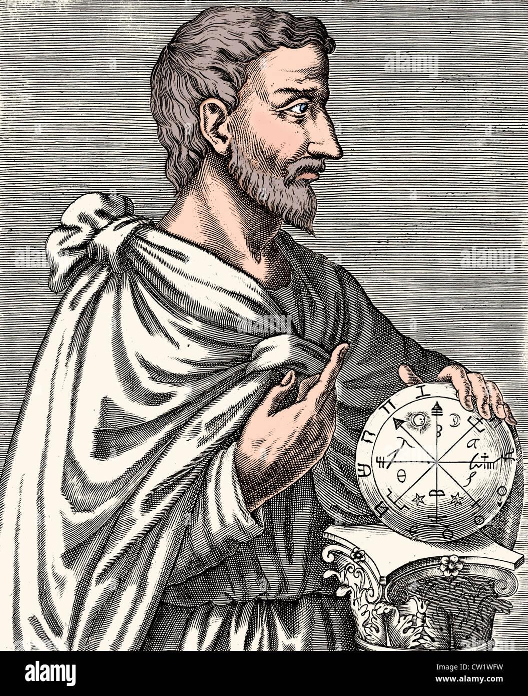 Pythagoras of Samos around 570 BC - 510 BC according to Metaponto in the Basilicata - Stock Image
