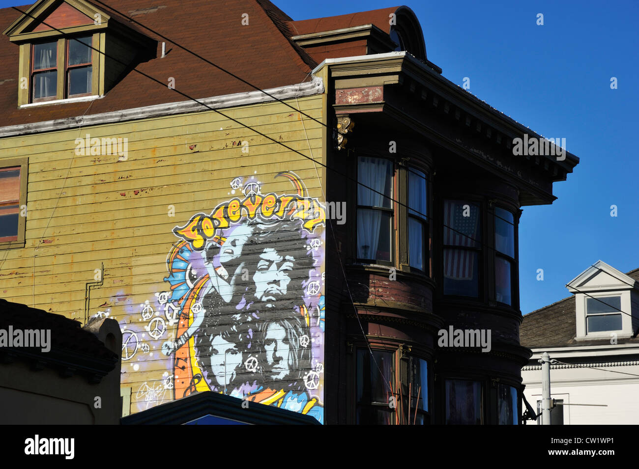 Haight-Ashbury cityscape, San Francisco CA - Stock Image