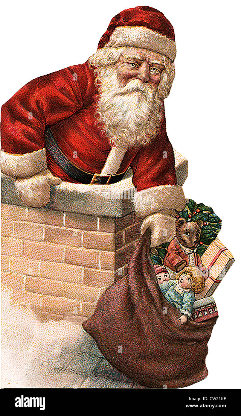 Santa Claus on top of the fireplace - Stock Image
