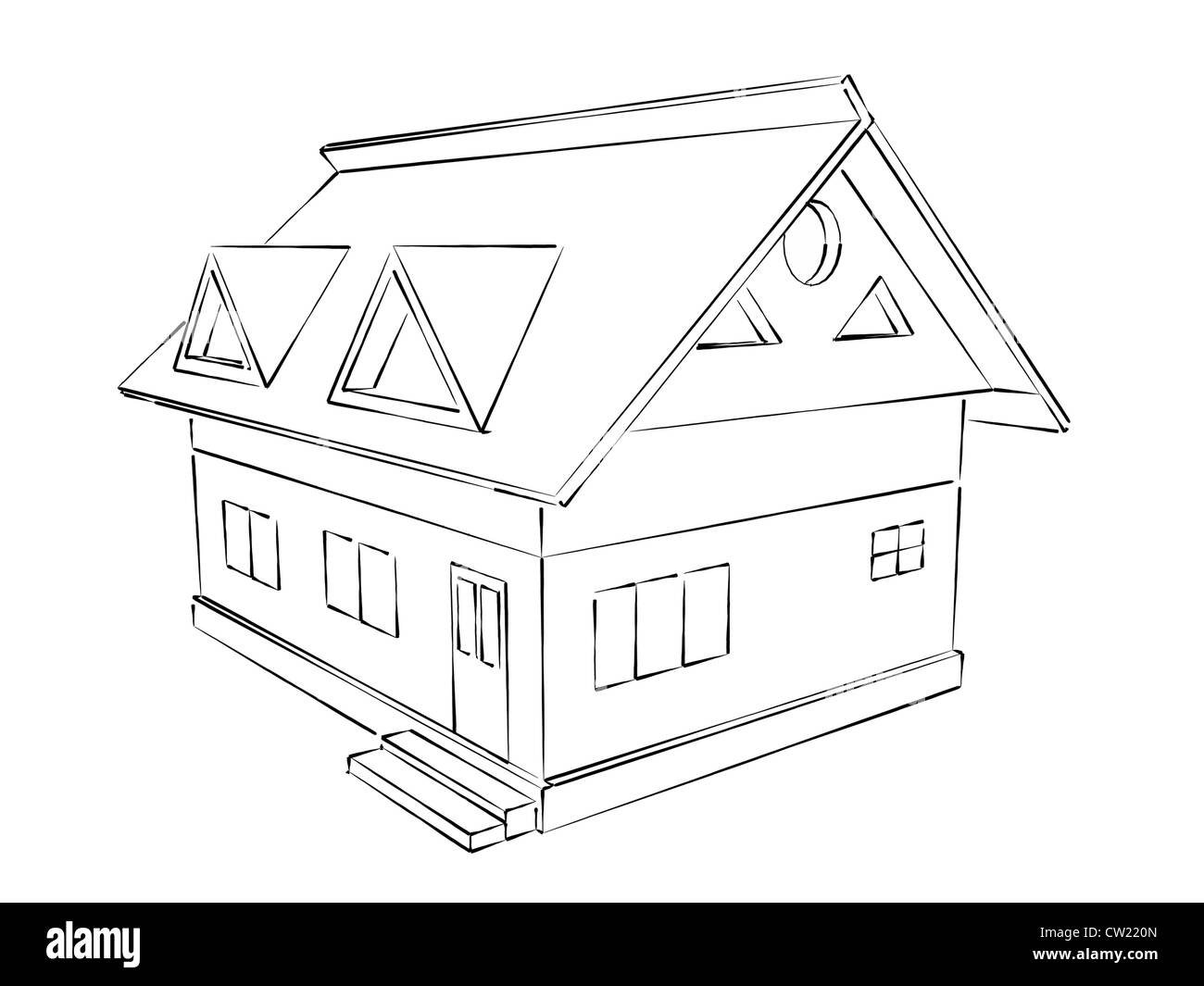Perfect Simple Sketch Illustration Of A House