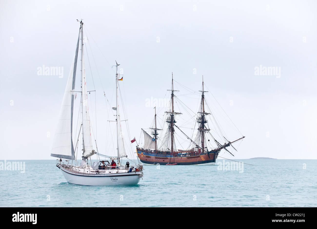 Captain Cooks vessel  Endevour meets  German sailing yacht in Torresstrait, Australia - Stock Image
