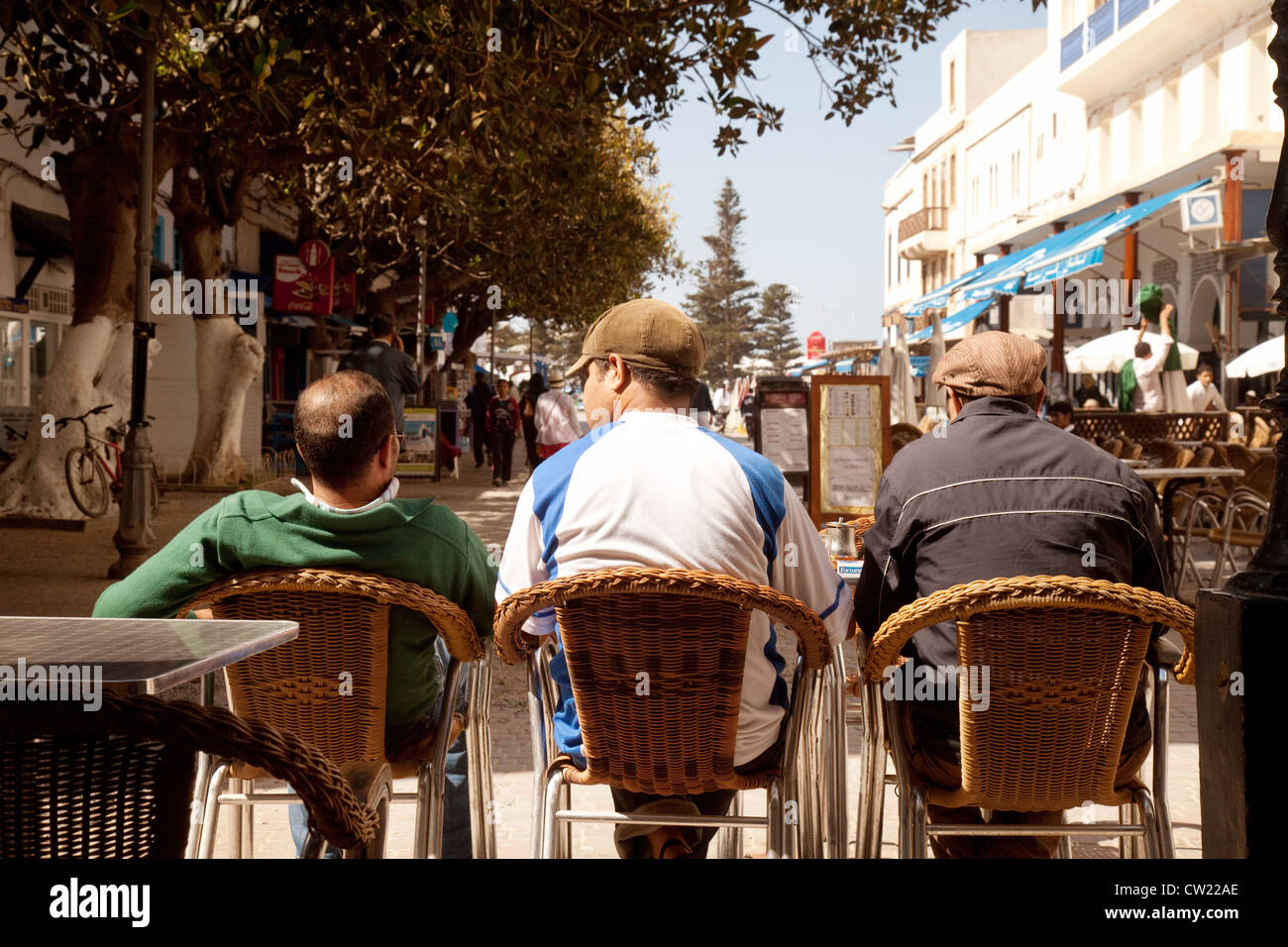 Three local arab men drinking in a bar, Essaouira Morocco Africa - Stock  Image