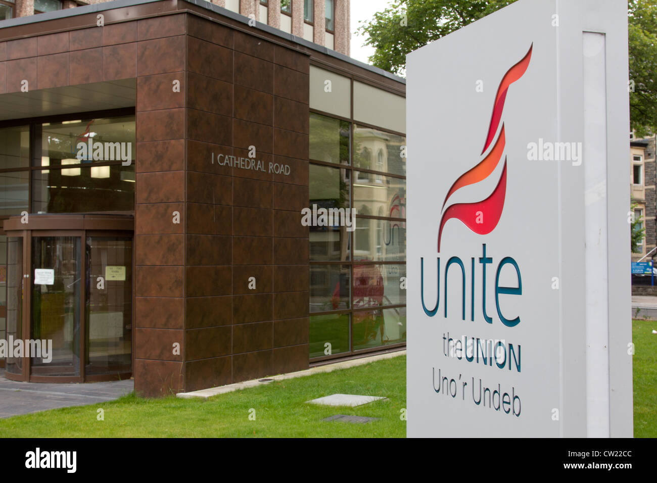 Unite trades union HQ in Cathedral Road, Cardiff - Stock Image