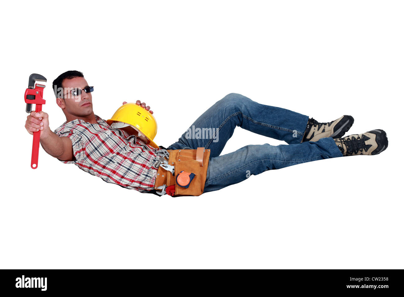 Builder taking a well earned break - Stock Image