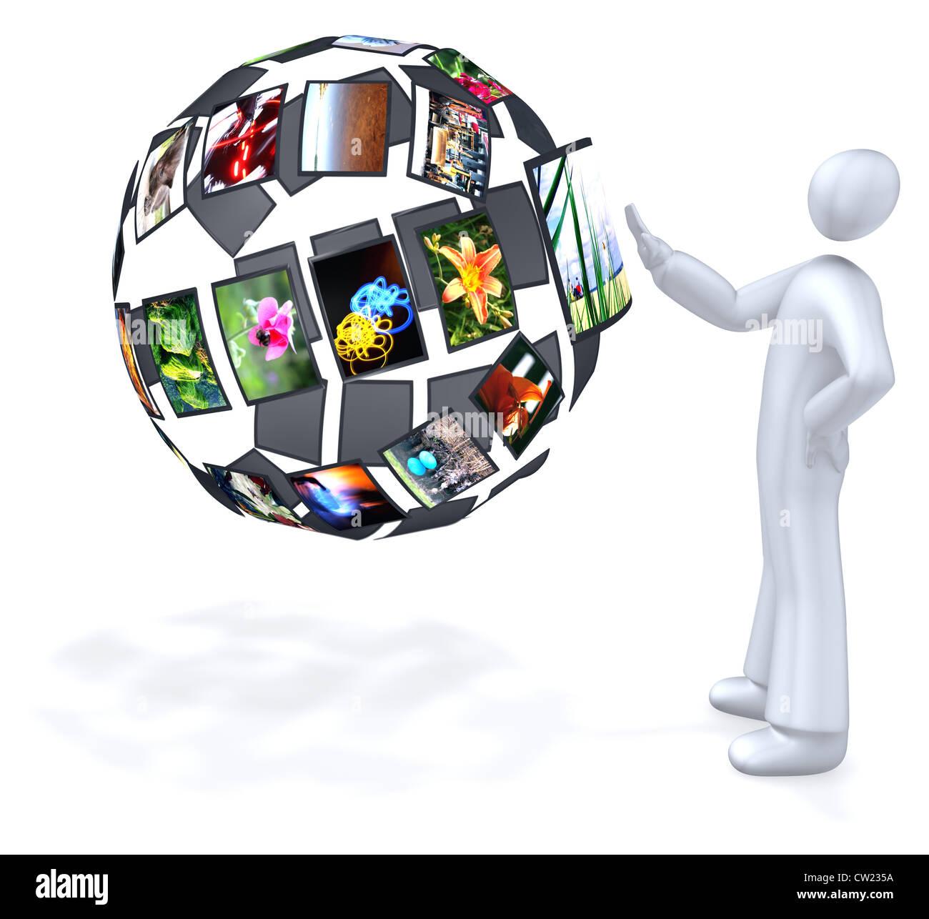 Futuristic 3D user interface - Stock Image