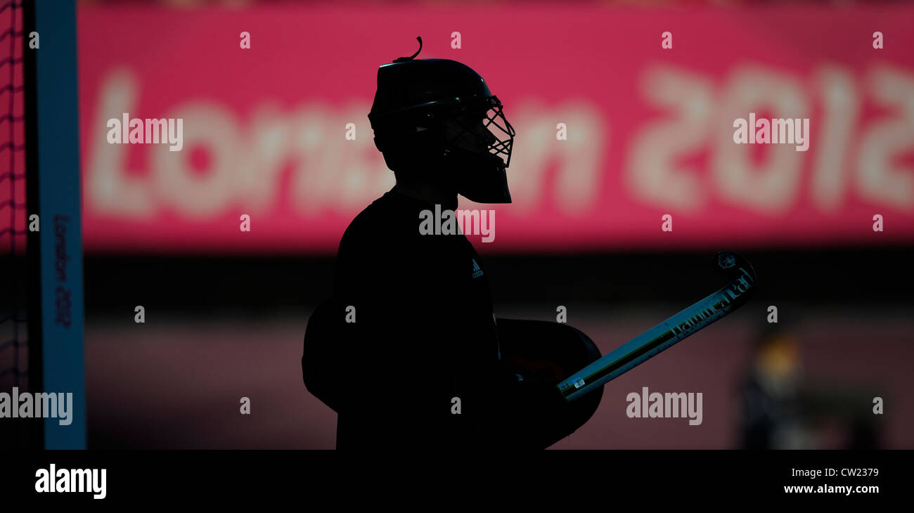 Great Britain's James Fair in goal against Australia during their pool game in the London 2012 Olympic hockey - Stock Image