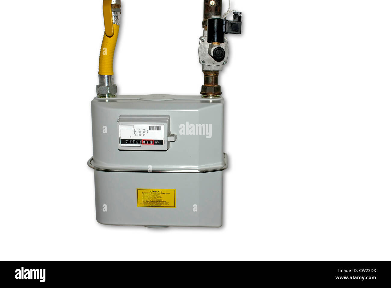 Natural Gas Meter. Isolated on white background with copyspace. Including clipping path. All copyrighted elements - Stock Image