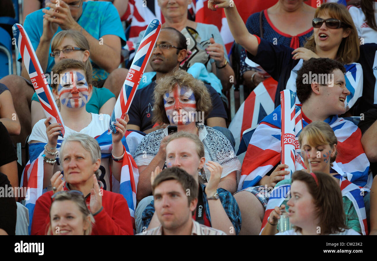 Great Britain's fans during their semi-final at the London 2012 Olympic hockey tournament, - Stock Image