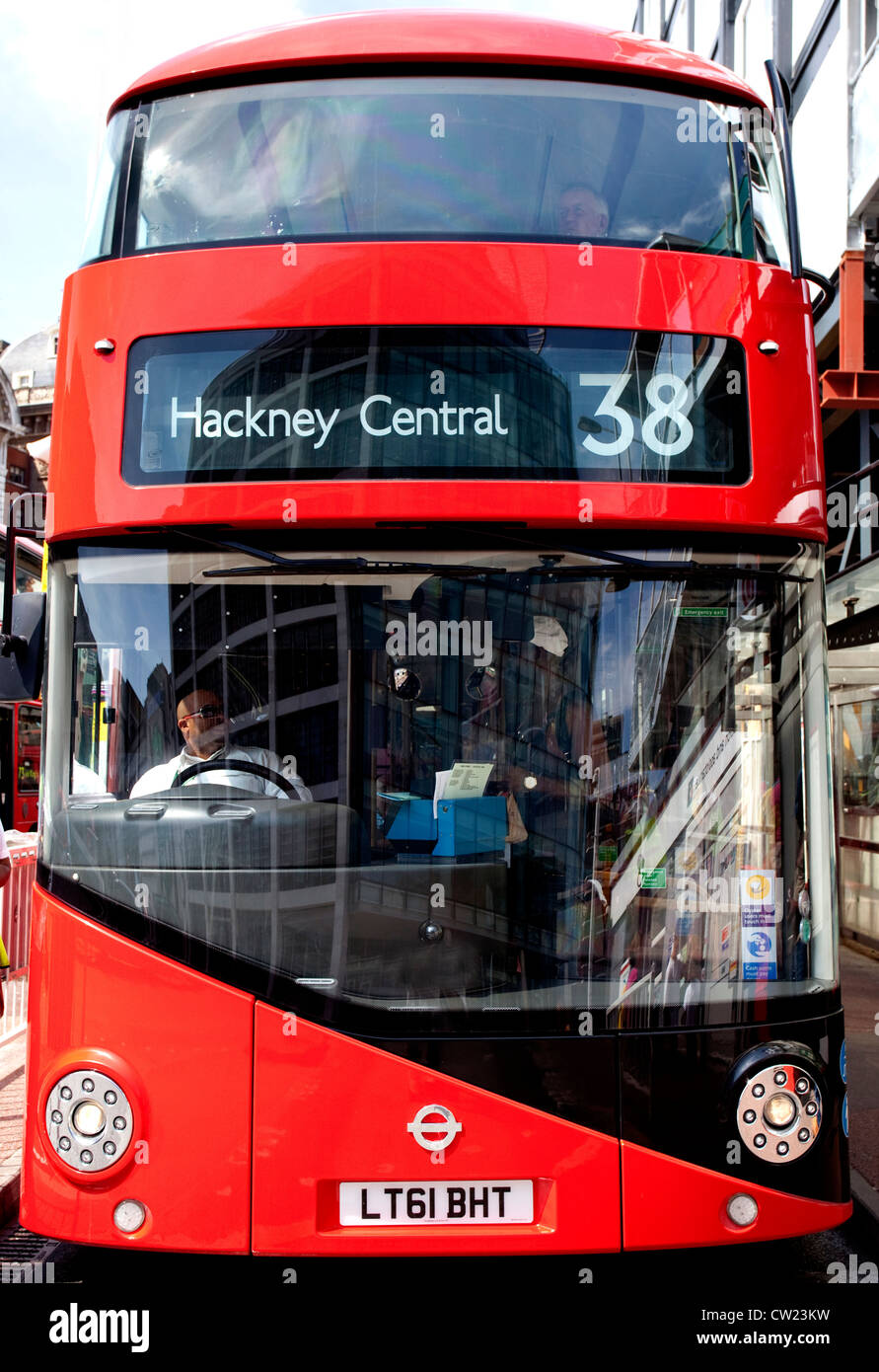 New 'Routemaster' double decker bus in Central London - Stock Image