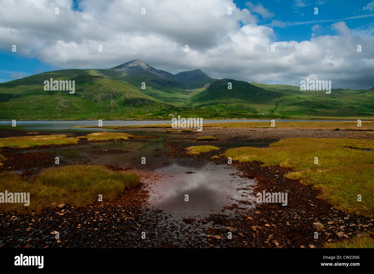 a landscape of loch scridain isle of mull with ben more in the background - Stock Image