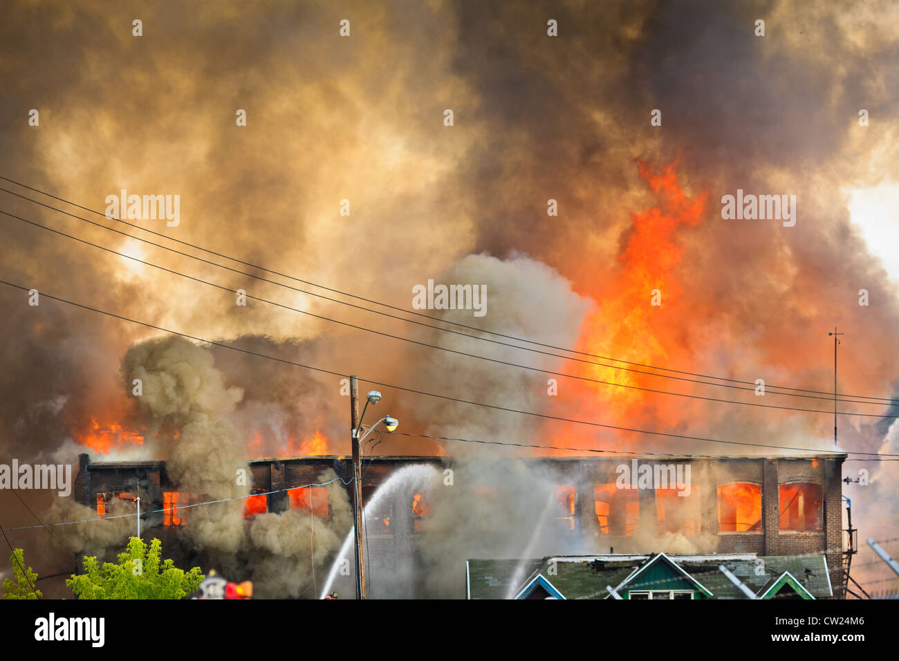 Largest fire ever in Herkimer County, New York, consumed 15 buildings, Union Hoe and Fork, Frankfort, August 2012 - Stock Image