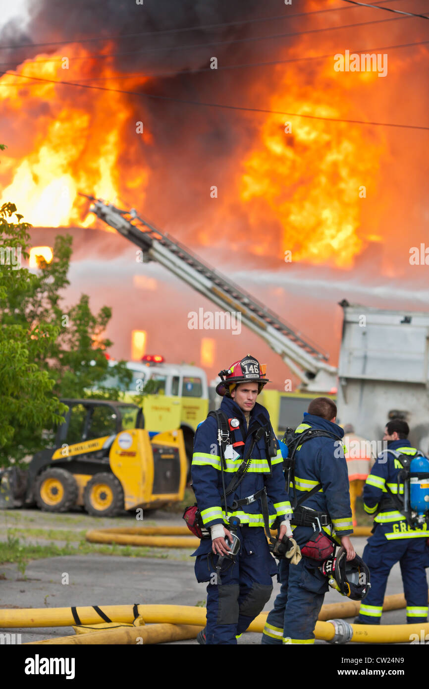 Fireman at a fire - Stock Image