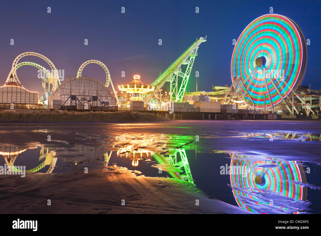 Carnival thrill rides on Morey's Piers Amusement Park, Wildwood, New Jersey - Stock Image
