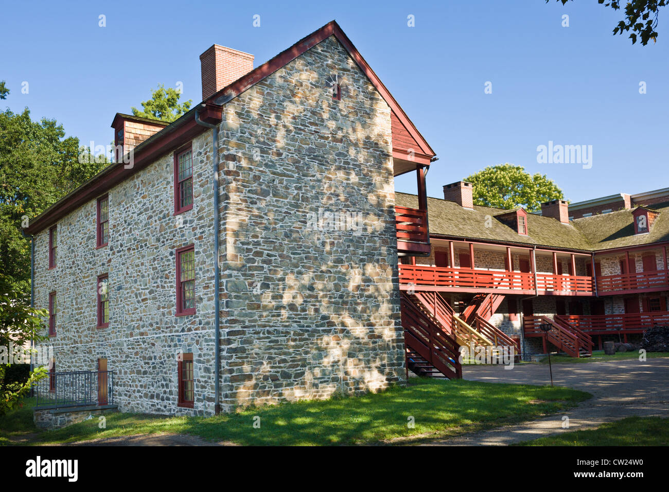 Old Barracks, 1758, Trenton, New Jersey, built for British troops of the French and Indian War - Stock Image