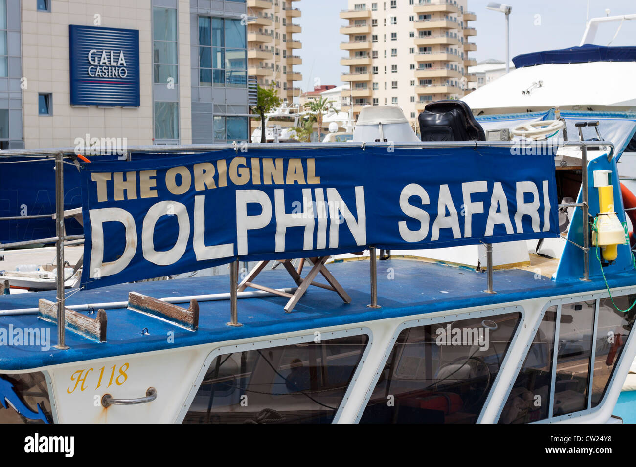 Dolphin Safari boat at Ocean Village, Gibraltar. - Stock Image