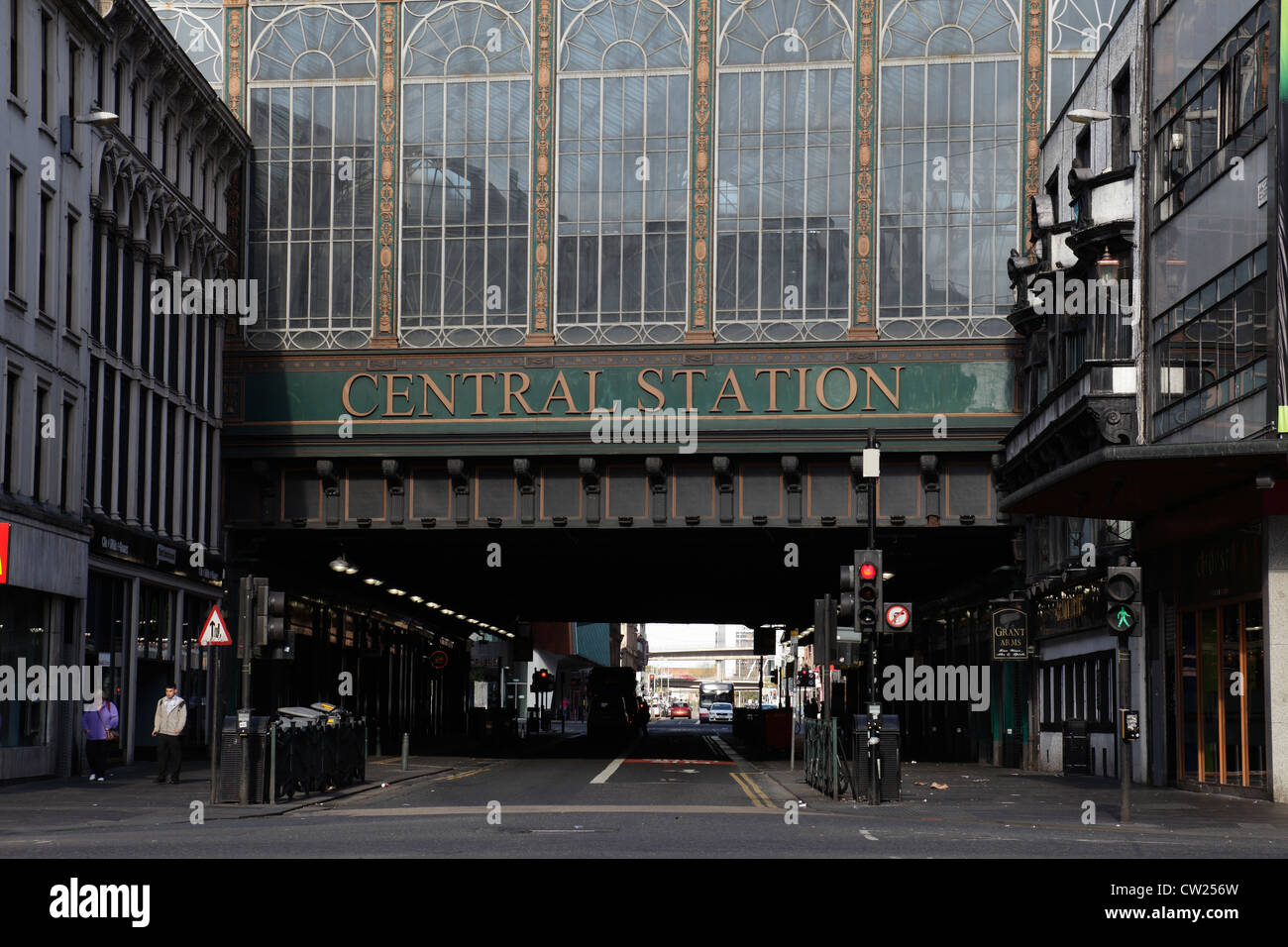 Glasgow Central Station railway bridge over Argyle Street in the city centre, Scotland, UK - Stock Image