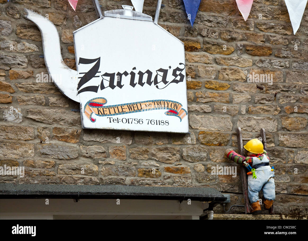 Kettlewell, Zarinas, Tea Shop Sign, in the Village of Kettlewell, Wharfdale,  North Yorkshire Dales, UK - Stock Image