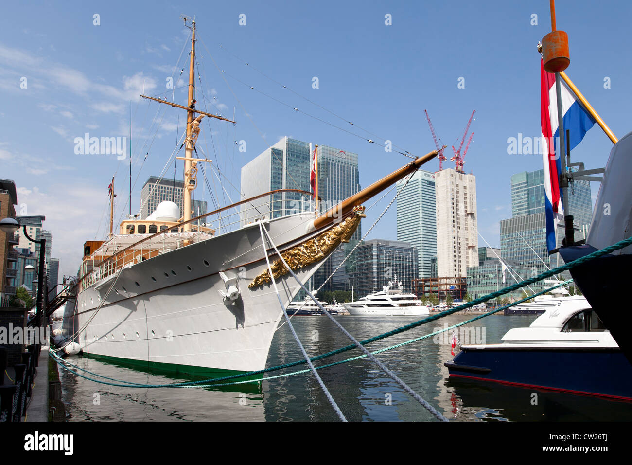 Royal Yacht Dannebrog, moored at Canary Wharf during the 2012 Summer Olympics in London - Stock Image