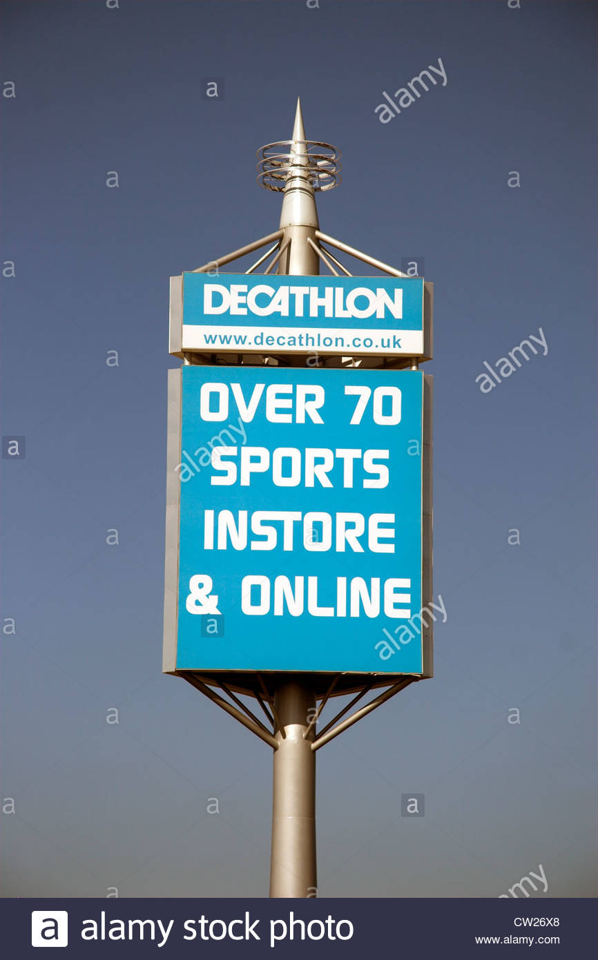 8b89908207d Sign for a Decathlon retail sports store, in the UK. - Stock Image