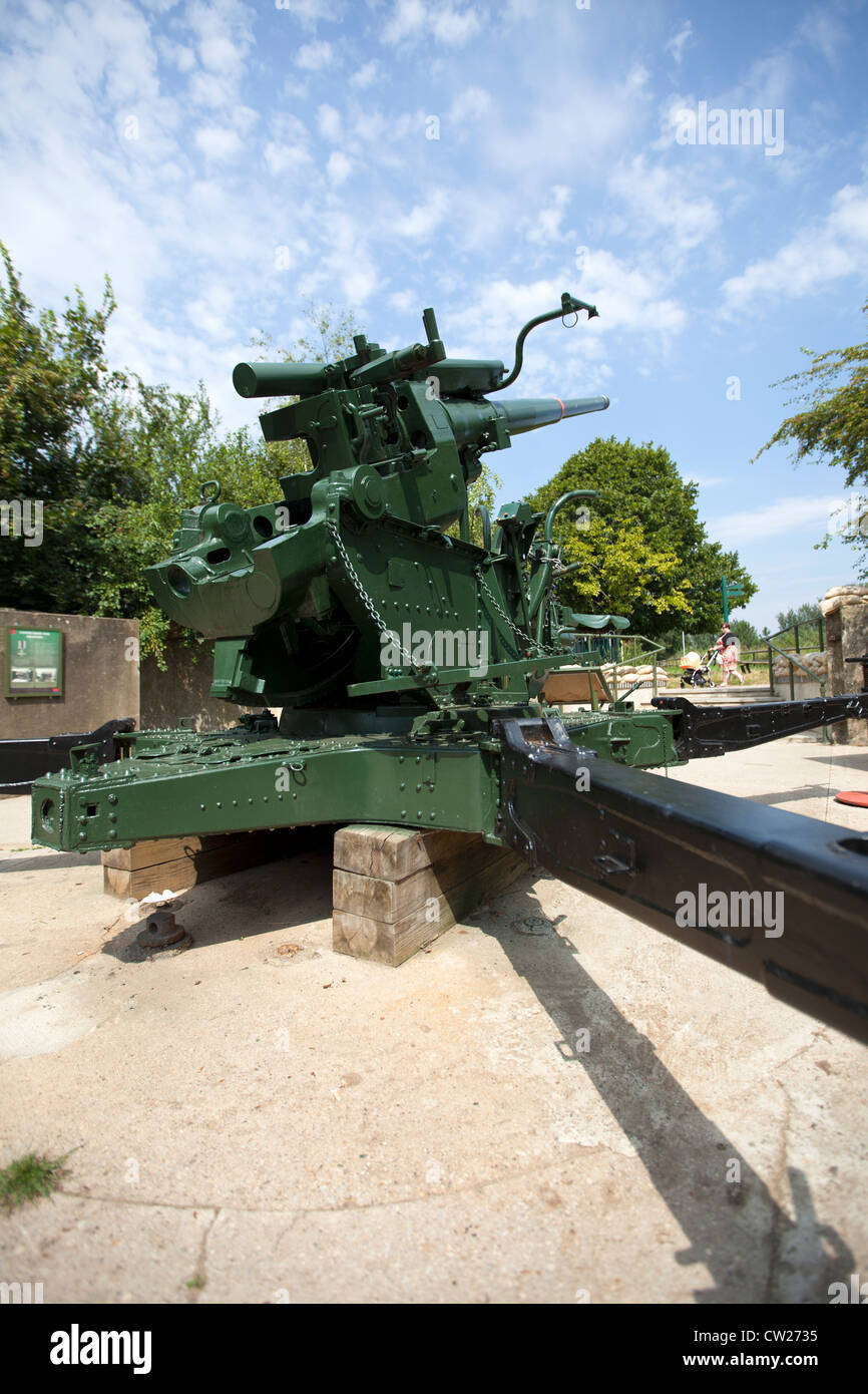 Restored WW2 Ack Ack (antiaircraft) gun emplacement at Mudchute Park & Farm, Isle of Dogs, Tower Hamlets, London, - Stock Image