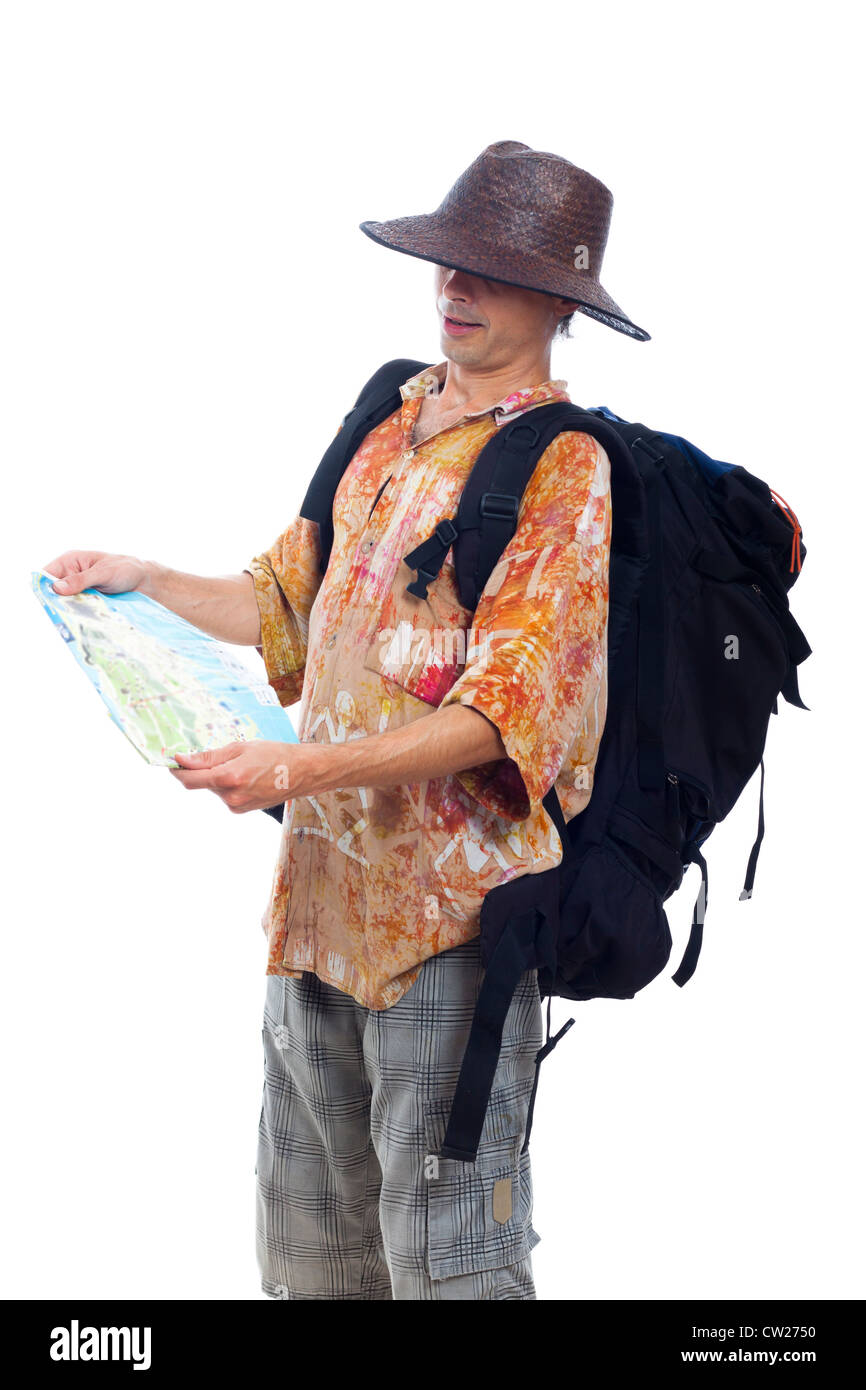 Man traveling with backpack and map, isolated on white background. - Stock Image