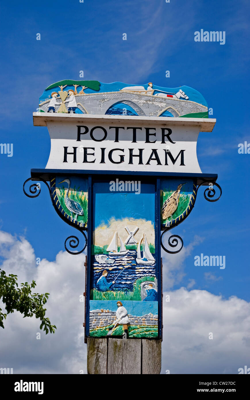 The Village Sign at Potter Heigham in Norfolk, which is one of the major boating centre's on the Norfolk Broads. - Stock Image