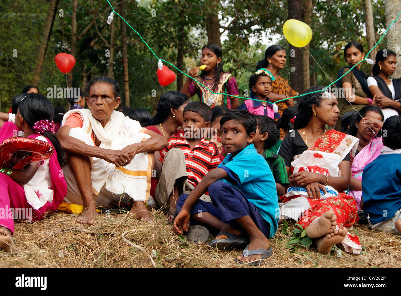 Native Peoples including womens and Children gathered around the Temple premises to watch the Gajamela Festival - Stock Image